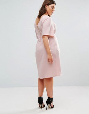 photo Wrap Front Dress by Closet London Plus, color Blush - Image 2