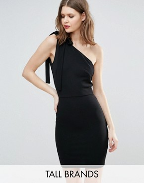 photo One Shoulder Mini Dress by Oh My Love Tall, color Black - Image 1