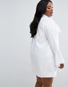 photo Frill Sleeve Shirt Dress by Missguided Plus, color White - Image 2