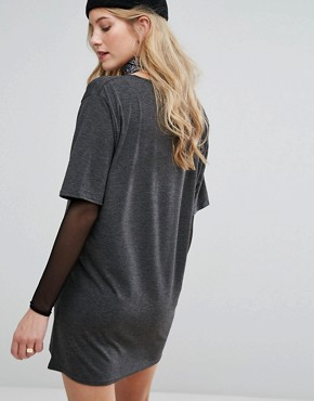 photo Rock Band T-Shirt Dress by Missguided Maternity, color Grey - Image 2