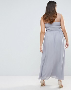 photo Maxi Dress with Embellished Neckline by Little Mistress Plus, color Grey - Image 2