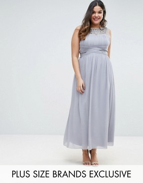 photo Maxi Dress with Embellished Neckline by Little Mistress Plus, color Grey - Image 1