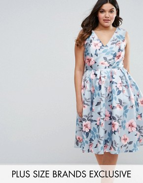 photo Floral Prom Dress by Chi Chi London Plus, color  - Image 1