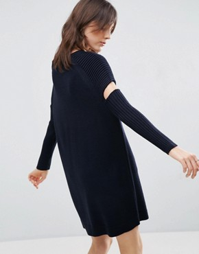 photo Knitted Dress With Cut Out Detail And Ribbed Sleeves by ASOS, color Navy - Image 2