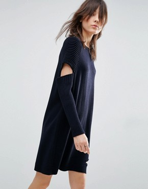 photo Knitted Dress With Cut Out Detail And Ribbed Sleeves by ASOS, color Navy - Image 1