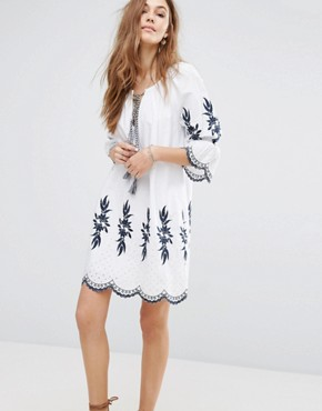 photo Embroidered Dress by Moon River, color Off White - Image 1