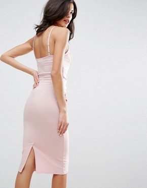 photo Big Bow Front Midi Bodycon Dress by ASOS, color Nude - Image 2