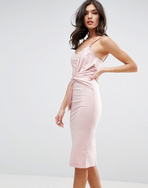 photo Big Bow Front Midi Bodycon Dress by ASOS, color Nude - Image 1