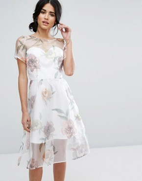 photo Organza Midi Dress In Overscale Floral by Chi Chi London, color Cream Print - Image 1