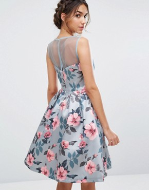 photo Floral Print Midi Dress In Sateen by Chi Chi London, color Blue Floral - Image 2