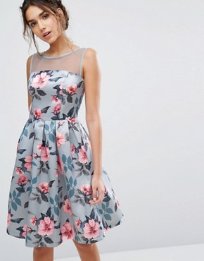 photo Floral Print Midi Dress In Sateen by Chi Chi London, color Blue Floral - Image 1