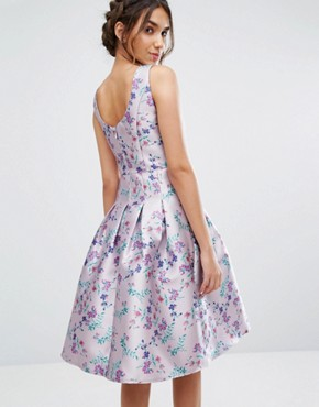 photo Pleated Midi Dress In Ditsy Floral Print by Chi Chi London, color Lilac Print - Image 2