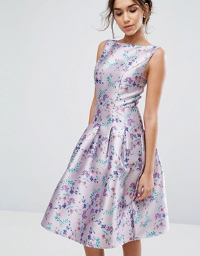 photo Pleated Midi Dress In Ditsy Floral Print by Chi Chi London, color Lilac Print - Image 1