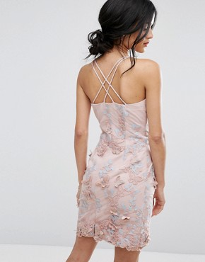 photo Pencil Dress In 3D Embroidery by Chi Chi London, color Dusky Rose/Blue - Image 2