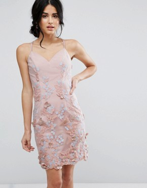photo Pencil Dress In 3D Embroidery by Chi Chi London, color Dusky Rose/Blue - Image 1