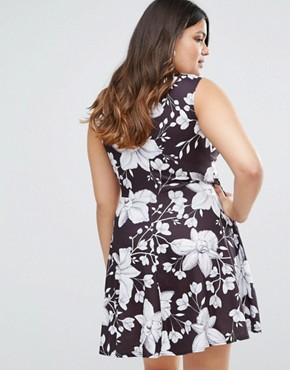 photo Skater Dress In Illustrated Floral Print by Club L Plus, color Black - Image 2
