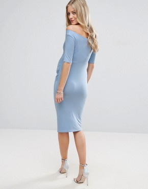 photo Bardot Dress with Half Sleeve by ASOS Maternity, color Pale Blue - Image 2