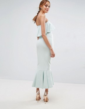 photo Bandeau Pephem Ruffle Top Midi Dress by ASOS TALL, color Mint - Image 2