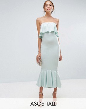 photo Bandeau Pephem Ruffle Top Midi Dress by ASOS TALL, color Mint - Image 1