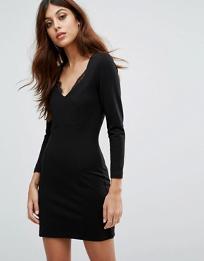 photo Lula Stretch Bodycon Colourblock Dress by French Connection, color Black - Image 1
