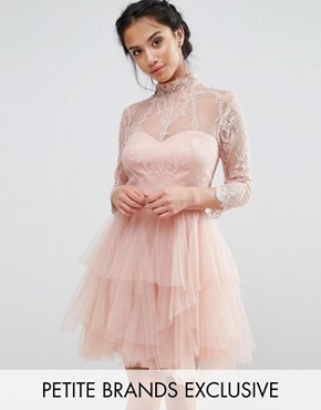 photo Allover Lace Mini Prom Dress With Ruffle Layered Skirt by Chi Chi London Petite, color Nude - Image 1