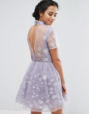 photo Mesh High Neck Mini Prom Skater Dress With Floral Metallic Embroidery by Chi Chi London Petite, color Purple - Image 2