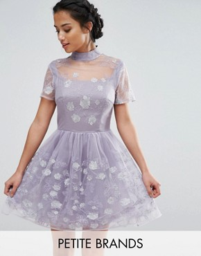 photo Mesh High Neck Mini Prom Skater Dress With Floral Metallic Embroidery by Chi Chi London Petite, color Purple - Image 1