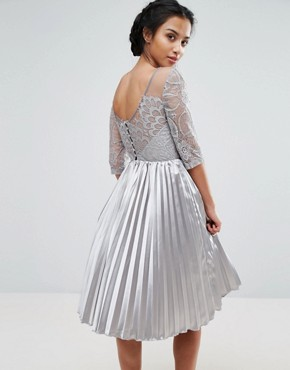 photo Allover Lace Top Prom Dress with Pleated Skirt by Chi Chi London Petite, color Grey - Image 2