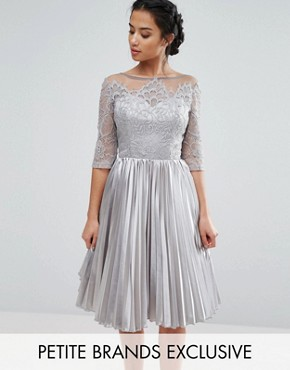 photo Allover Lace Top Prom Dress with Pleated Skirt by Chi Chi London Petite, color Grey - Image 1