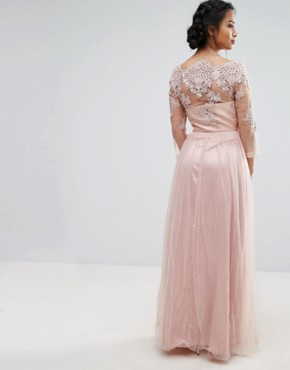 photo Allover Lace Top Maxi Dress with Tulle Skirt by Chi Chi London Petite, color Nude - Image 2