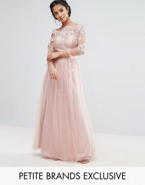 photo Allover Lace Top Maxi Dress with Tulle Skirt by Chi Chi London Petite, color Nude - Image 1