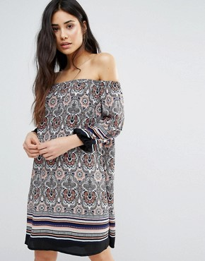 photo Paisley Print Off The Shoulder Dress by Girls on Film, color  - Image 1