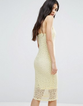 photo Bodycon Lace Dress by Girls on Film, color Pale Yellow - Image 2