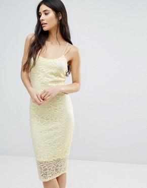 photo Bodycon Lace Dress by Girls on Film, color Pale Yellow - Image 1
