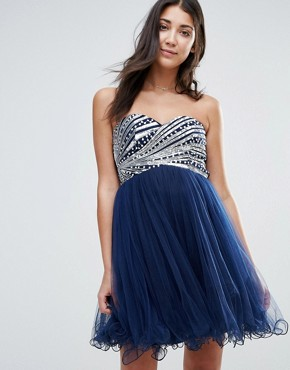 photo Bandeau Prom Dress With Sequin Body by Little Mistress, color Navy - Image 1