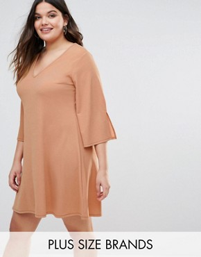 photo Fluted Sleeve Shift Dress by Pink Clove, color Pink - Image 1