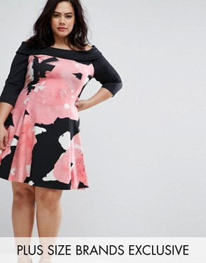 photo Floral Printed Bardot Dress by Coast Plus, color  - Image 1