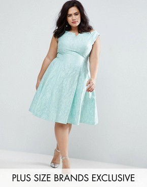photo Bardot Jacquard Dress by Coast Plus, color Mint - Image 1