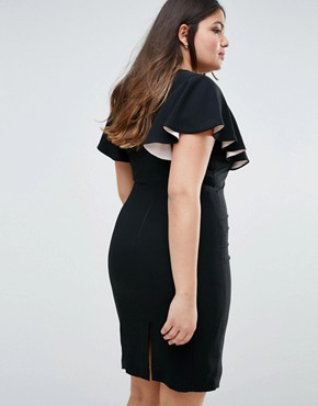 photo Pencil Dress With Cape Detail Sleeves by Coast Plus, color Black - Image 2