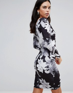 photo Long Sleeve Palm Tree Print Wrap Dress by Jessica Wright, color Black - Image 2