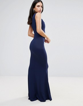 photo Fishtail Maxi Dress With Key Hole Detail by Jessica Wright, color Navy - Image 2