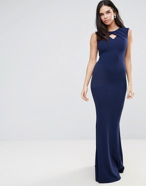 photo Fishtail Maxi Dress With Key Hole Detail by Jessica Wright, color Navy - Image 1