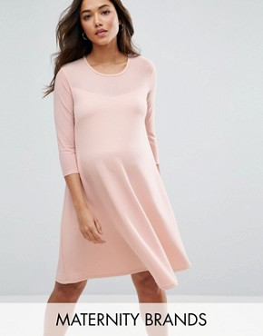 photo Swing Dress with Mesh by Bluebelle Maternity, color Pink - Image 1