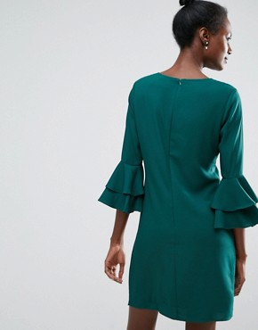 photo Shift Dress with Ruffle Sleeve Detail by Traffic People, color Green - Image 2