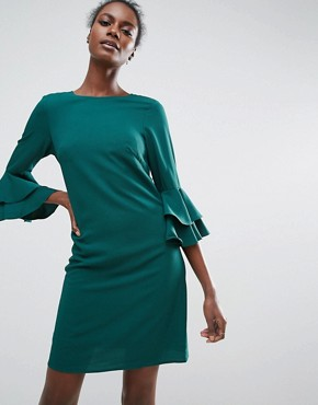 photo Shift Dress with Ruffle Sleeve Detail by Traffic People, color Green - Image 1