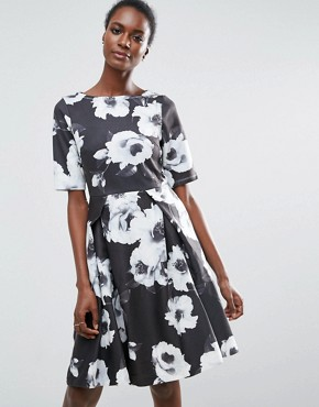 photo 3/4 Sleeve Floral Skater Dress by Traffic People, color Black/White - Image 1