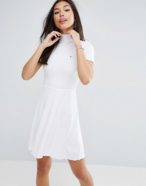 photo Skater Mini Dress in Rib with Roll Neck by ASOS, color White - Image 1