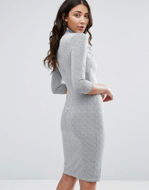 photo 3/4 Sleeve High Neck Pencil Dress by City Goddess, color Grey - Image 2