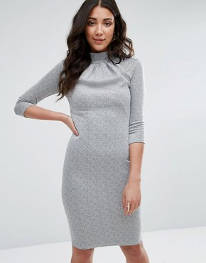 photo 3/4 Sleeve High Neck Pencil Dress by City Goddess, color Grey - Image 1