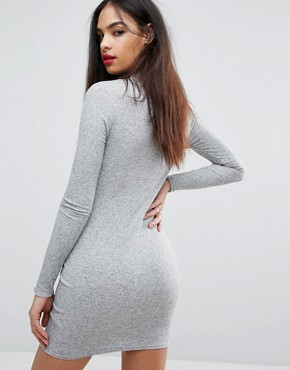 photo Ribbed Bodycon Dress by PrettyLittleThing, color Grey - Image 2